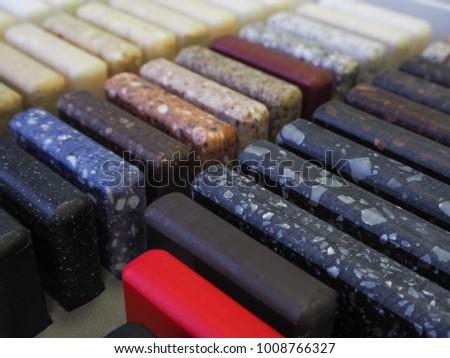 Samples of acrylic stone.