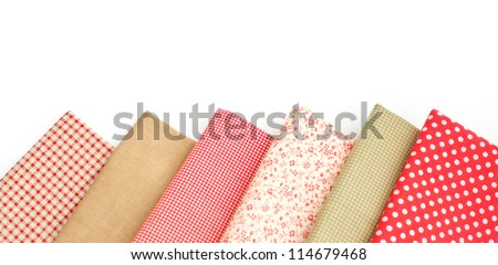 Samples of colored fabrics
