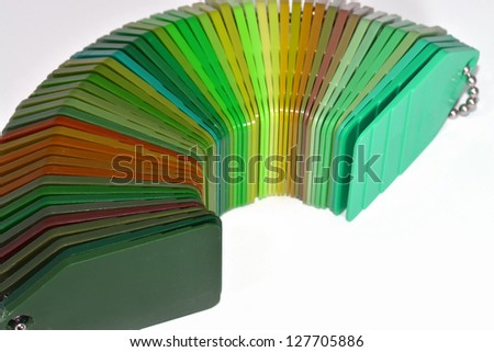samples of coloured plastic plates
