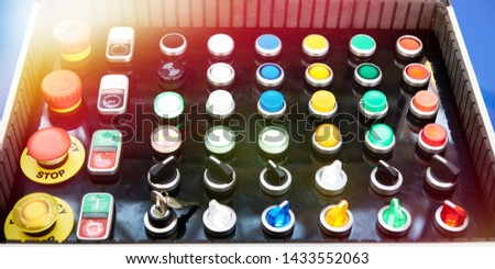 Samples of electrical buttons switches in the box #1433552063