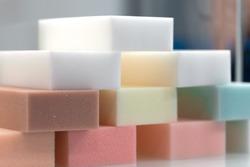 Samples of foam rubber component in furniture manufacturing.
