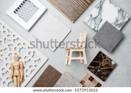 samples of material, wood , on concrete table.Interior design select material for idea. #1073953616