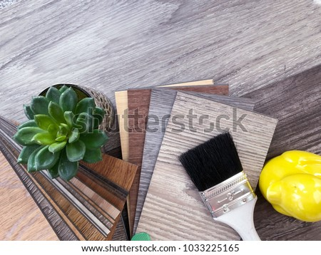 Samples stack catalog set of wooden vinyl flooring  for matching home interior design idea #1033225165