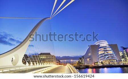 Samuel Beckett Bridge in Dublin in summer time
