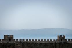 Samuel's fortress stone brick walls with mountain background, Lake Ohrid Macedonia