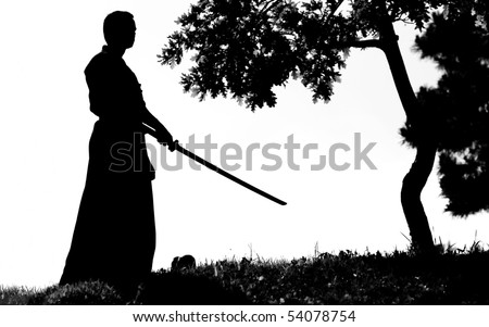 Samurai silhouette in front of tree