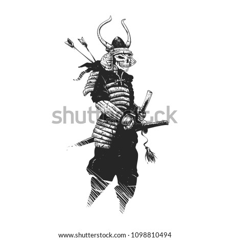 Stock Photo Samurai skull , grim reaper illustration , zombie warrior