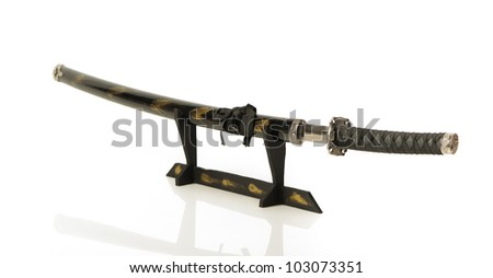 Samurai sword on a stand isolated