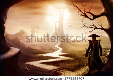 Samurai with a sword standing near a tree, on background of valley and mountains, long river, high tower and a scorching sun, with castle, giant, and flying dragons in the distance, magic landscape.