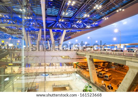 SAMUTPRAKARN, THAILAND- SEP 21 : Architecture of Suvarnabhumi Airport in Thailand on Sep 21, 2013. Suvarnabhumi was officially opened for most domestic and all international flights on Sep 28, 2006.