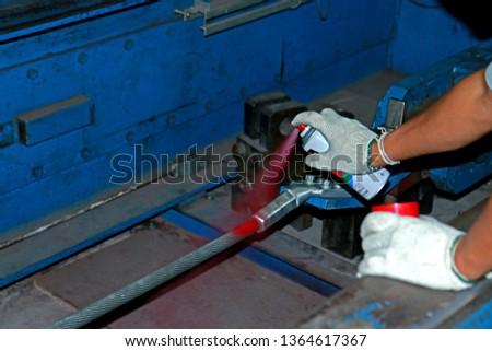 SAMUTPRAKHRAN-THAILAND-NOVEMBER 16 : Tensile test of Steel hardware for fitting electrical cable with steel tower in Transmission line, November 16, 2016, Samutprakhran Province, Thailand. #1364617367