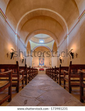 SAN ANTONIO, TEXAS - JANUARY 7: Interior of Mission Concepcion on January 7, 2014 in San Antonio, Texas