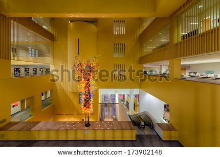 SAN ANTONIO, TEXAS - JANUARY 8: Lobby of the San Antonio Public Central Library on January 8, 2014 in San Antonio, Texas
