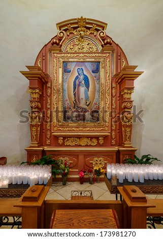 SAN ANTONIO, TEXAS - JANUARY 7: Shrine in the Cathedral of San Fernando on January 7, 2014 in San Antonio, Texas