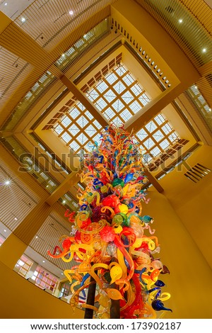SAN ANTONIO, TEXAS - JANUARY 8: Two-story glass blown sculpture named \