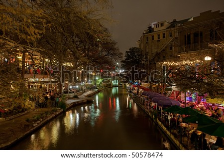 San Antonio Texas River Walk at night