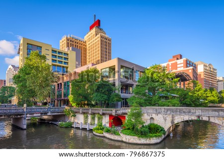 San Antonio, Texas, USA downtown skyline on the river walk.