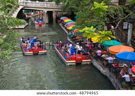 SAN ANTONIO, TEXAS, USA - JULY 20:  Section of the famous Riverwalk on July 20, 2009 in San Antonio, Texas. A bustling place with many restaurants, bars, and live music.