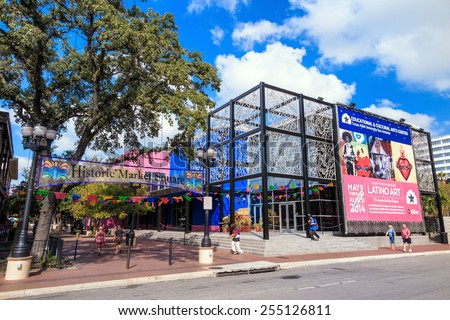 SAN ANTONIO, TEXAS, USA - SEP 29: Historic Market Square of San Antonio, Texas on September 29, 2014 The district is the largest Mexican shopping center in the city.
