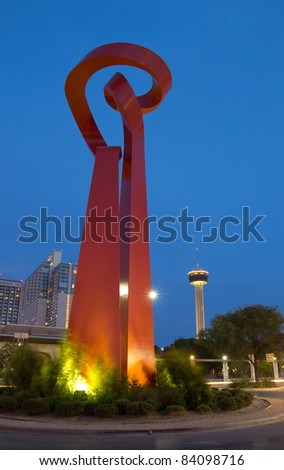 SAN ANTONIO, TX - AUG 13: The Torch of Friendship Statue in San Antonio, Texas on August 13, 2011.  The 65' tall sculpture was dedicated in 2002 to signify the friendship between Mexico and the USA.