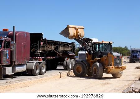 SAN ANTONIO, TX - OCTOBER 18 2011: Bridge construction in progress on a city street in San Antonio, Texas, as government stimulus money is put to use