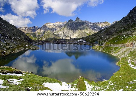 San Bernardino Pass in Swiss Alps - stock photo