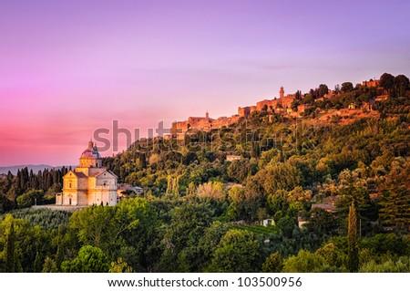 San Biagio cathedral at sunset - horizontal, Montepulciano, Italy