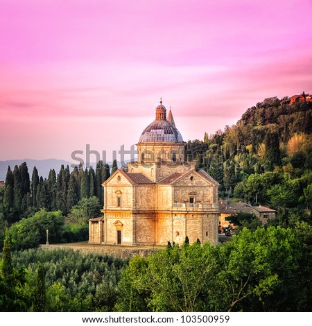 San Biagio cathedral at sunset - square, Montepulciano, Italy