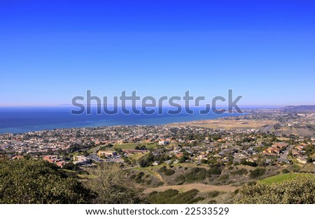 San Clemente Hills looking towards Dana Point with Catalina Island in the Background
