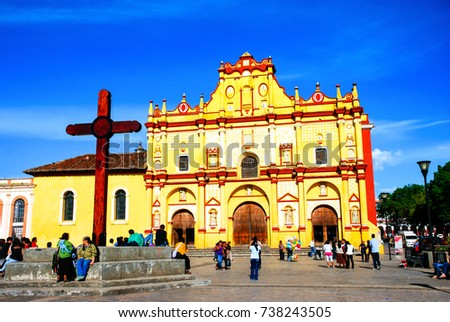 Shutterstock San Cristobal de las Casas, Mexico. Main square of San Cristobal de las Casas, Mexico with Cathedral and unidentified people. It is a cultural capital of Chiapas with Spanish colonial architecture