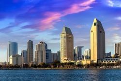 San Diego Bay in marina district, California, USA