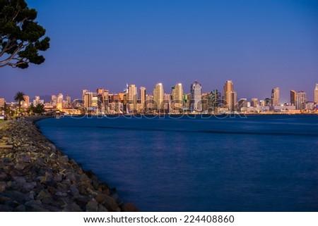 San Diego Bay Skyline at Night. San Diego, California. Summer Night.