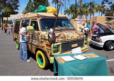 SAN DIEGO, CA - APRIL 19: Alternatively-fueled vehicles on display at Earth Fair on April 19, 2009. The fair is a large annual event held at Balboa Park in San Diego. - stock photo