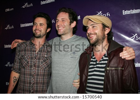 SAN DIEGO, CA - July 26: Actors, Rob McElhenney, Glenn Howerton & Charlie Day attend the annual Comic Con International SciFi Channel party hosted by Entertainment Weekly on 7/26/08 in San Diego, CA. - stock photo