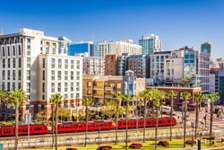San Diego, California cityscape at the Gaslamp Quarter.
