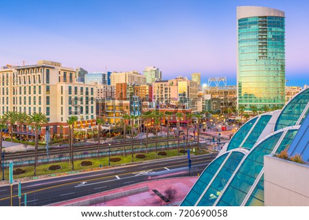 San Diego, California, cityscape at the Gaslamp Quarter.