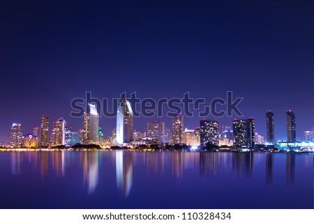 San Diego California skyline at night - stock photo