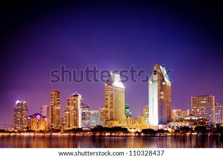 San Diego California skyline at night