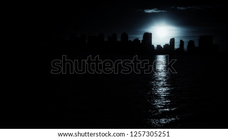 San Diego cool urban skyline in monochrome black and white with beautiful contours of down town cityscape with burning sun reflecting in sea water. More similar content is found in my portfolio.  #1257305251