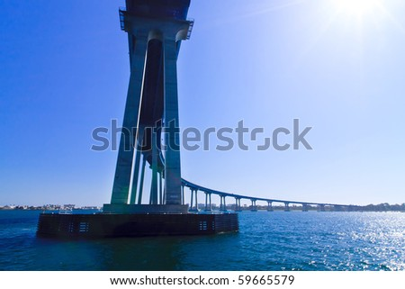 "San Diego - Coronado Bridge, locally referred to as the Coronado Bridge, is a concrete & steel"" bridge, crossing over San Diego Bay in the United States, linking San Diego, with Coronado, California."