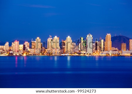 San Diego downtown skyline at night - stock photo