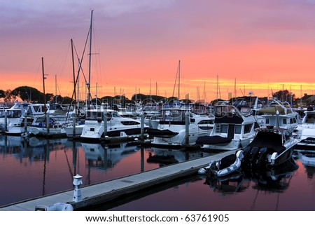 San Diego harbour and the yachts at sunset.