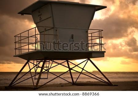 San Diego Lifeguard Tower at Sunset