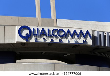 SAN DIEGO - MARCH 16: Qualcomm Stadium located in San Diego, California on March 16, 2014. Qualcomm Stadium is a multi-purpose sports stadium and the home of the San Diego Chargers of the NFL. - stock photo