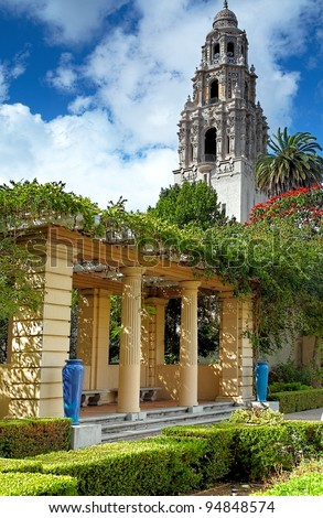 San Diego's Balboa Park Bell Tower and Patio Garden in Sunny San Diego, Southern California USA