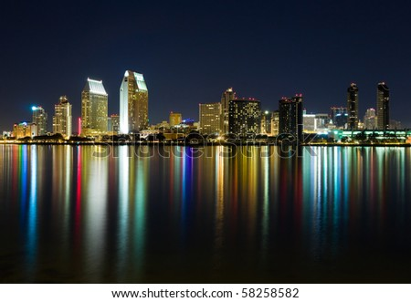 San Diego skyline at night - stock photo