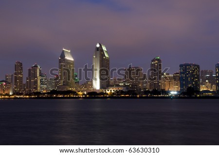 San Diego Skyline at Night with Clouds and Water.