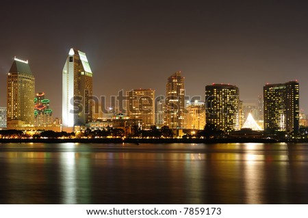 San Diego skyline at night with holiday lights