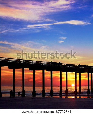 San Diego Sunset and Pier at La Jolla Shores San Diego, California