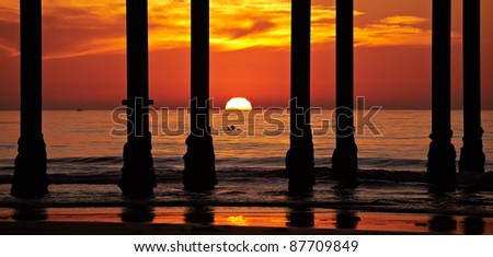 San Diego Sunset and Pillars at La Jolla Shores San Diego, California